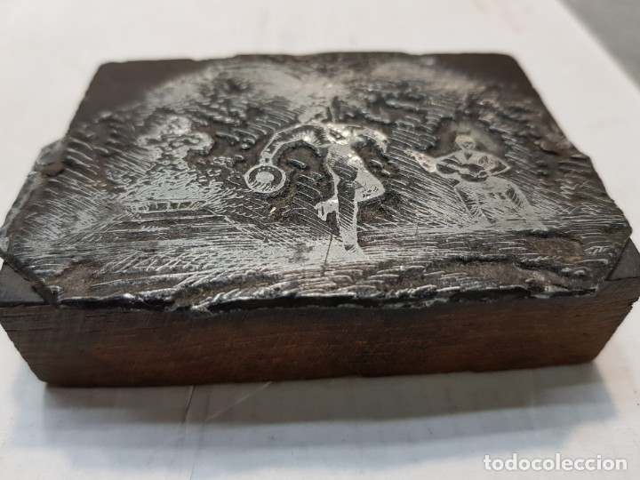 Antigüedades: Tampon metálico-Cliche Imprenta motivo Sevilla-Feria Abril- raro - Foto 3 - 176838810