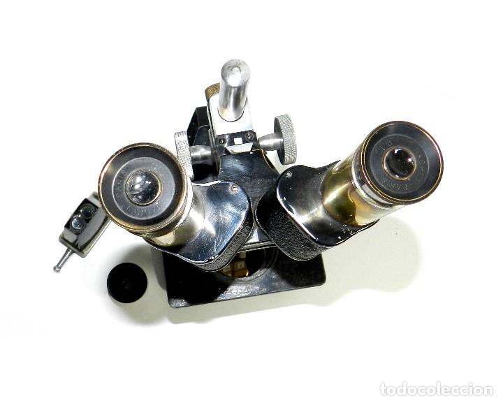 Antigüedades: Antiguo Microscopio Binocular Nachet paris. - Foto 3 - 177024648