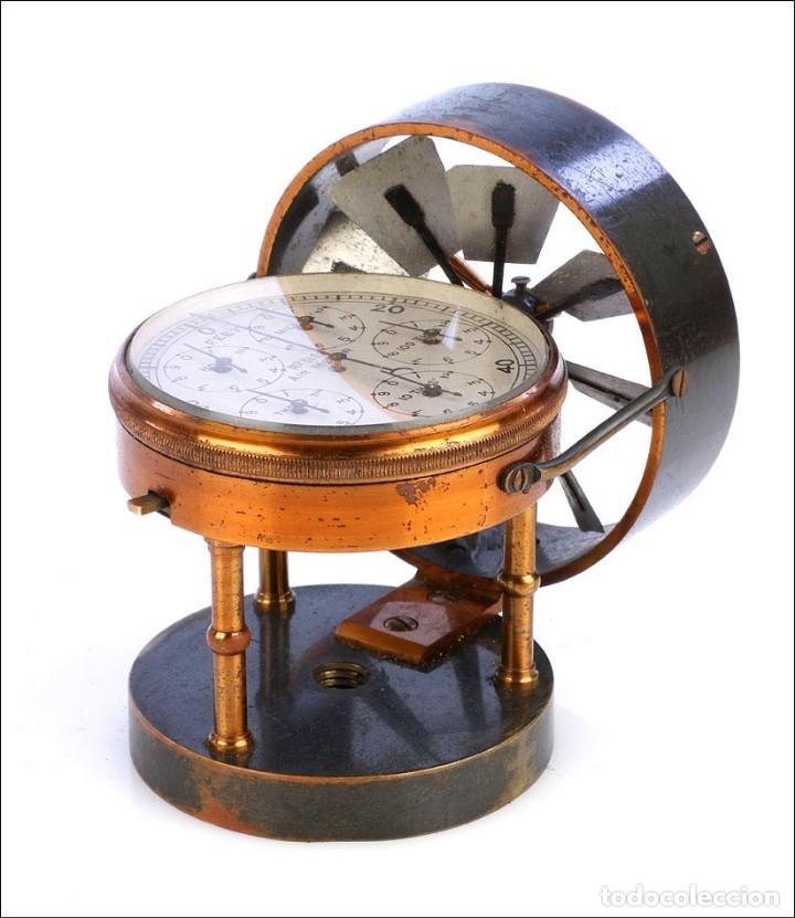 Antigüedades: Antiguo Anemómetro en su Estuche. Inglaterra, Circa 1900 - Foto 3 - 177184439