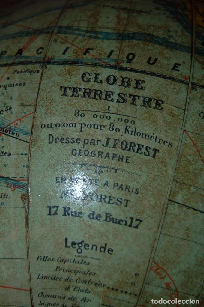 Antigüedades: GLOBO TERRÁQUEO POLÍTICO FRANCÉS (BOLA DEL MUNDO ) FOREST, 16 CM, AÑO 1928 - Foto 11 - 177302673