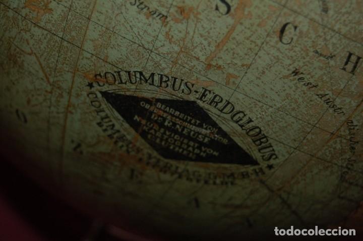 Antigüedades: GLOBO TERRÁQUEO POLÍTICO ALEMÁN (BOLA DEL MUNDO ) COLUMBUS, 33 CM, AÑO 1928 - Foto 14 - 177305893