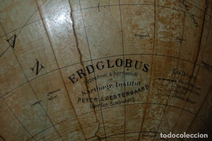 Antigüedades: GLOBO TERRÁQUEO POLÍTICO ALEMÁN (BOLA DEL MUNDO ) OESTERGAARD, 33 CM, AÑO 1907 - Foto 13 - 177310525