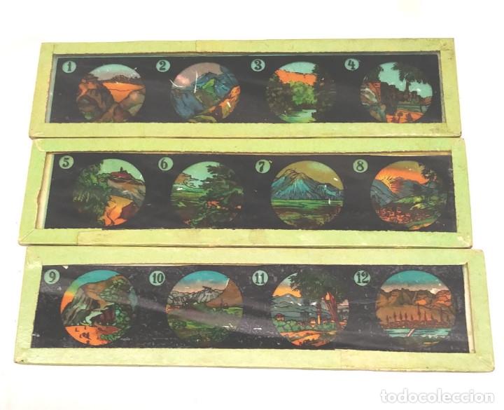 Antigüedades: Linterna Mágica S XIX hojalata y latón completa, 3 cristales y con caja de origen - Foto 2 - 177337284