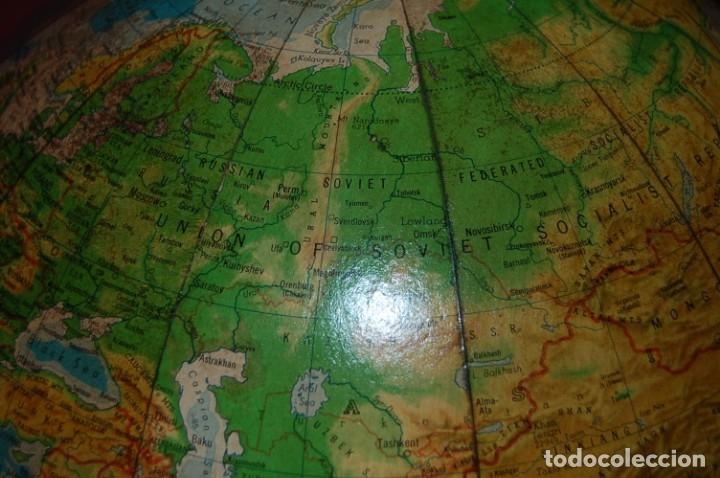 Antigüedades: GRAN GLOBO TERRÁQUEO FÍSICO-POLÍTICO AMERICANO (BOLA DEL MUNDO ) DENOYER-GEPPERT, 40 CM, AÑO 1960 - Foto 11 - 177407410
