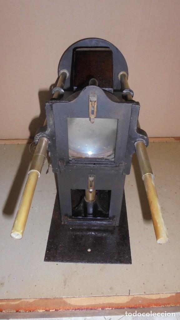 Antigüedades: (M) ANTIGUO APARATO OPTICO MARCA GAUMONT PRINCIPIO S. XX DE METAL , HIERRO 2 LUPAS ABIERTO 80 CM. DE - Foto 8 - 177823838