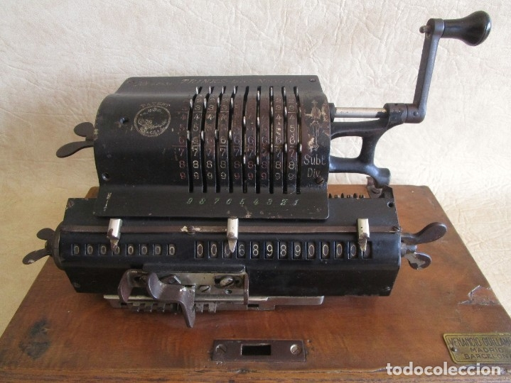 Antigüedades: antigua maquina de calcular calculadora venancio guillamet trinks brunsviga - Foto 3 - 91572195