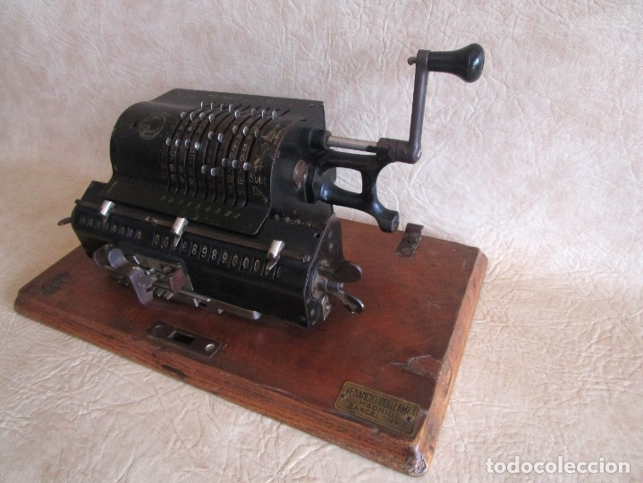 Antigüedades: antigua maquina de calcular calculadora venancio guillamet trinks brunsviga - Foto 5 - 91572195