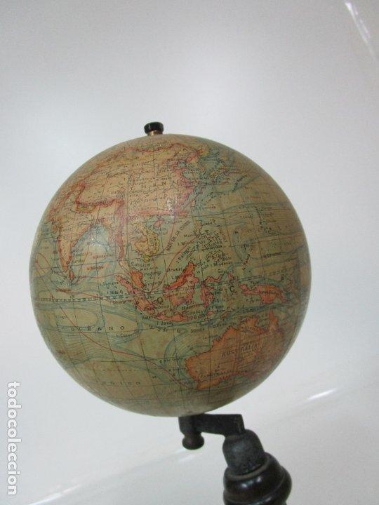 Antigüedades: Antiguo Globo Terráqueo - Paluzie Imprenta Elzeviriana - Bola del Mundo - Corrientes Marinas - Foto 7 - 177971513