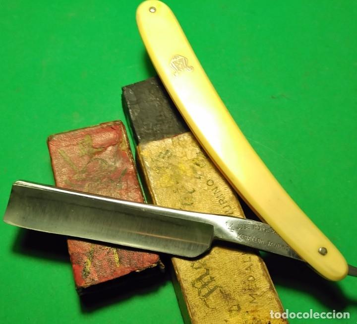 Antigüedades: Navaja afeitar MEDALLON TAURINO (FILARMONICA) con caja ORIGINAL straight razor - Foto 4 - 178086514