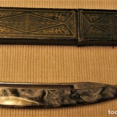 Antigüedades: NAVAJA DE AFEITAR JOSE MONTSERRAT POU Nº 14 DOBLE TEMPLE FILARMÓNICA. Lote 178144059