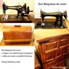 Antigüedades: DOS MÁQUINAS DE COSER. SINGER DE SOBREMESA Y ALFA CON MUEBLE Y MOTOR.. Lote 178276660