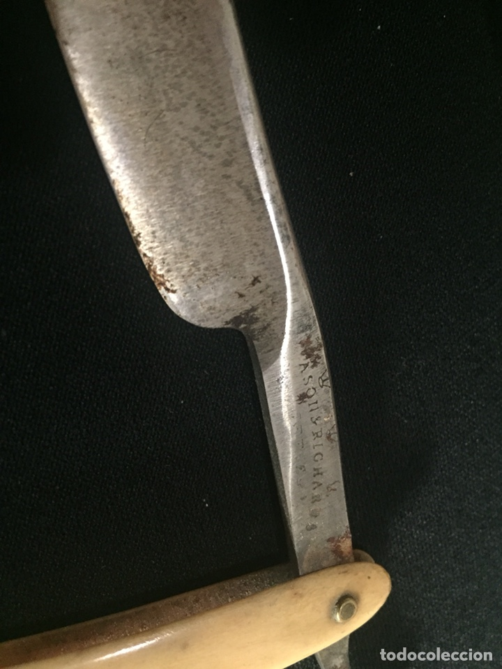 Antigüedades: Antigua navaja de barbero. Cachas de hueso. - Foto 4 - 178609158