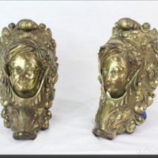 Antigüedades: PAREJA DE TIRADORES DE PUERTA RETRÁCTILES, BRONCE DORADO - FRANCIA SXIX. Lote 178620033