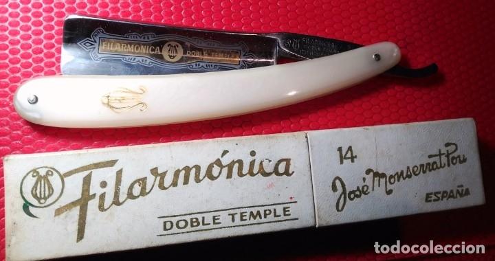 FILARMONICA 14 DOBLE TEMPLE, CAJA ORIGINAL, NAVAJA AFEITAR O BARBERO, STRAIGHT RAZOR, RASOIO (Antigüedades - Técnicas - Barbería - Navajas Antiguas)