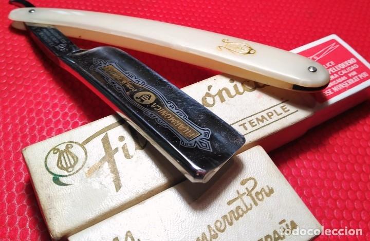 Antigüedades: FILARMONICA 14 Doble Temple, Caja Original, Navaja afeitar o barbero, straight razor, rasoio - Foto 7 - 178623742