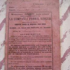 Antigüedades: SINGER 1913. OBLIGACION DE ARRENDAMIENTO DE LA MAQUINA. BARCELONA. . Lote 178724541