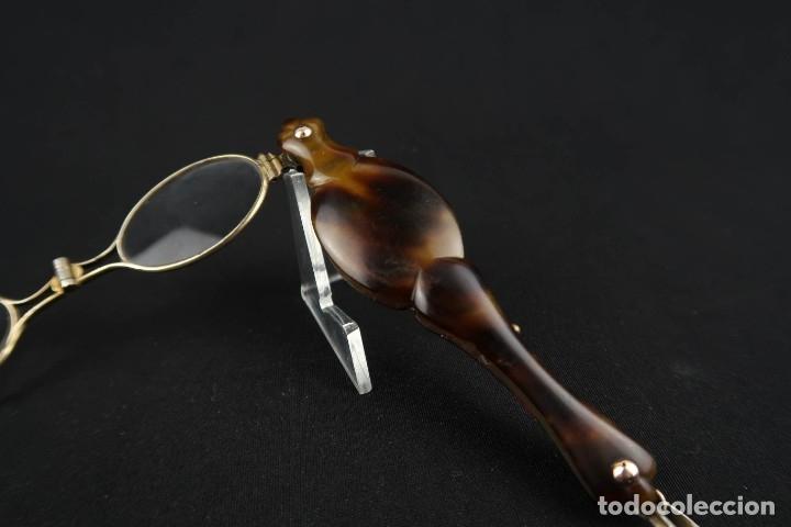 Antigüedades: Antiguas Gafas Impertinentes de Carey oro y plata dorada Siglo XIX - Foto 10 - 178803483