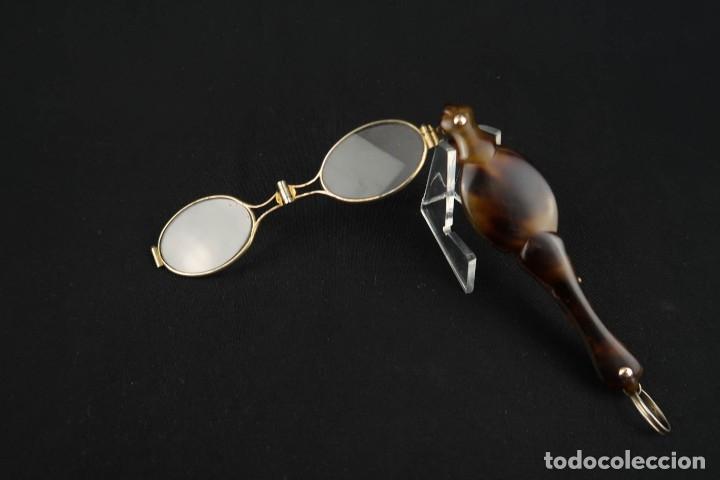 Antigüedades: Antiguas Gafas Impertinentes de Carey oro y plata dorada Siglo XIX - Foto 11 - 178803483