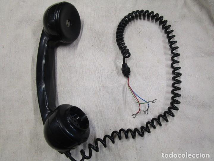AURICULAR Y MICRO - TELEFONO DE LOS 70'S, RESINA VINILO NEGRO, COMPLETO Y LIMPIO MINIMO USO ++ INFO (Antigüedades - Técnicas - Teléfonos Antiguos)
