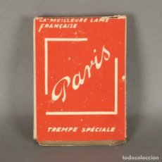 Antigüedades: ANTIGUA CAJA COMPLETA DE HOJAS DE AFEITAR DE PARIS. FRANCIA 1910 - 1920. Lote 179036320