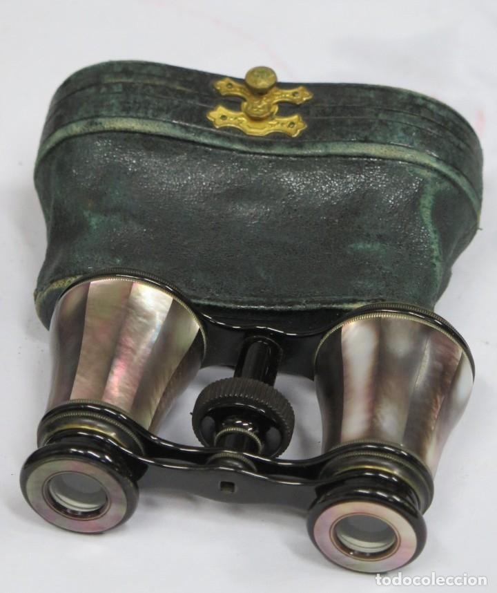 ANTIGUOS PRISMATICOS DE NACAR. CON ESTUCHE (Antigüedades - Técnicas - Instrumentos Ópticos - Prismáticos Antiguos)