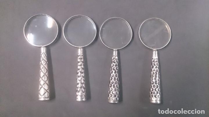 4 LUPAS DE ALPACA 13X6 CTMS (Antigüedades - Técnicas - Instrumentos Ópticos - Lupas Antiguas)