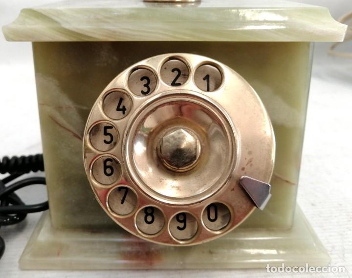 Teléfonos: TELEFONO DE LOS AÑOS 60 REALIZADO EN MARMOL ONIX VERDE, BRONCE Y BAQUELITA DE MANUFACTURA ITALIANA - Foto 3 - 180075111