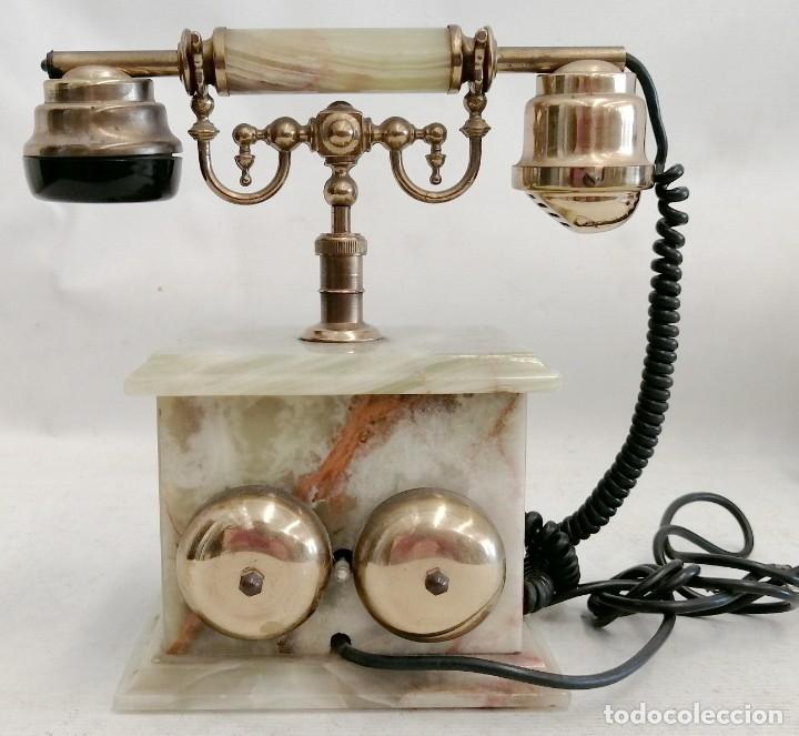 Teléfonos: TELEFONO DE LOS AÑOS 60 REALIZADO EN MARMOL ONIX VERDE, BRONCE Y BAQUELITA DE MANUFACTURA ITALIANA - Foto 4 - 180075111