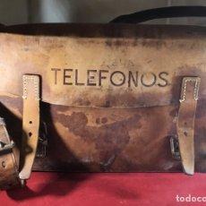Teléfonos: ANTIGUA CARTERA O MALETÍN DE TRABAJO, DE CUERO, DE LA CTNE, ACTUAL TELEFÓNICA. Lote 180152918