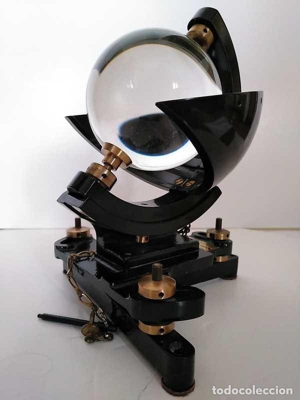 HELIOGRAFO CAMPBELL STOKES SUNSHINE RECORDER NEGRETTI & ZAMBRA LONDON GRABADOR DE LUZ SOLAR HELIOGRA (Antigüedades - Técnicas - Otros Instrumentos Ópticos Antiguos)