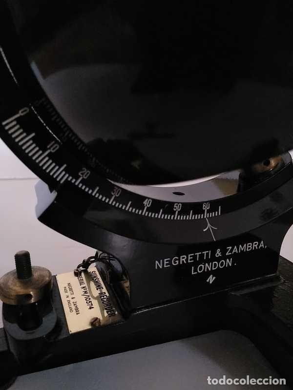 Antigüedades: HELIOGRAFO CAMPBELL STOKES SUNSHINE RECORDER NEGRETTI & ZAMBRA LONDON GRABADOR DE LUZ SOLAR HELIOGRA - Foto 150 - 180193120