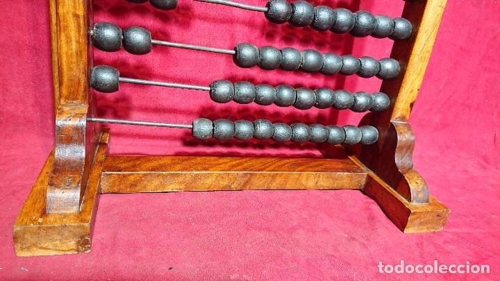 Antigüedades: BONITO ABACO OBJETO CALCULADOR DE COLEGIO MADERA CON BARRAS METALICAS 62,5 CM ALTURA - Foto 5 - 180202675