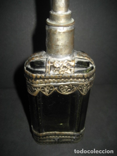 Antigüedades: ANTIGUO ESENCIERO PERFUMERO ARABE. CRISTAL VERDE Y BRONCE - Foto 4 - 180274485