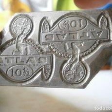 Antigüedades: MOLDE.ORIJINAL,DE.IMPRENTA¡ENTRE,1800,Y,PRINCIPIO,DE,1900,UNICO,EN,TC,¡ATLAS¡¡. Lote 180387603