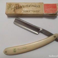 Antigüedades: ANTIGUA NAVAJA DE AFEITAR - JOSE MONSERRAT POU - FILARMONICA - DOBLE TEMPLE. Lote 180452986
