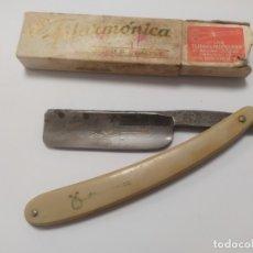 Antigüedades: ANTIGUA NAVAJA DE AFEITAR - JOSE MONSERRAT POU - FILARMONICA - DOBLE TEMPLE. Lote 180456033