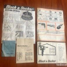 Antigüedades: TALADRADORA D 520 BLACK & DECKER: FOLLETO ACCESORIOS + GARANTIA + PUBLICIDAD 1970. Lote 180856260