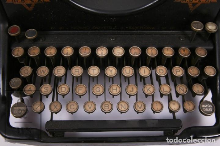 Antigüedades: Antigua Máquina de Escribir Hispano-Olivetti M 40 / H.O. S.A. - Barcelona, Años 30 - Foto 8 - 181454350