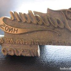 Antigüedades: ANTIGUO SELLO TROQUEL O MATRIZ EN BRONCE DE JORDAN HNOS. PLAZA DE LA CONSTITUCIÓN 5-7 MEXICO. Lote 181464521