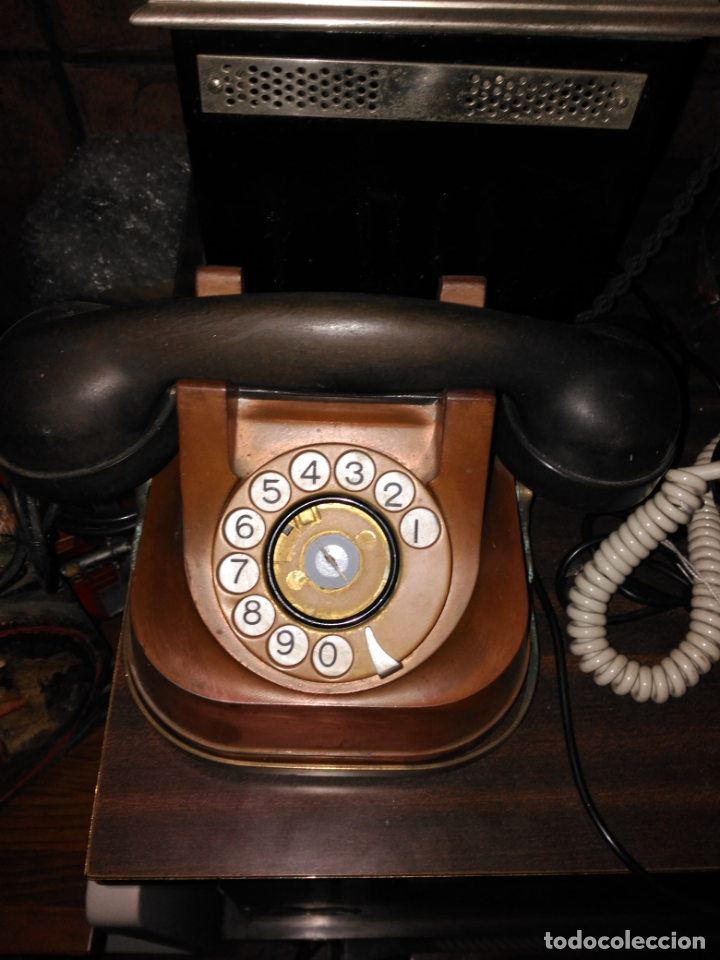 Teléfonos: PRECIOSO Y ANTIGUO TELÉFONO BELGA RTT56 EN METAL ASA EN LATÓN AURICULARES BAQUELITA FUNCIONANDO - Foto 7 - 167032792