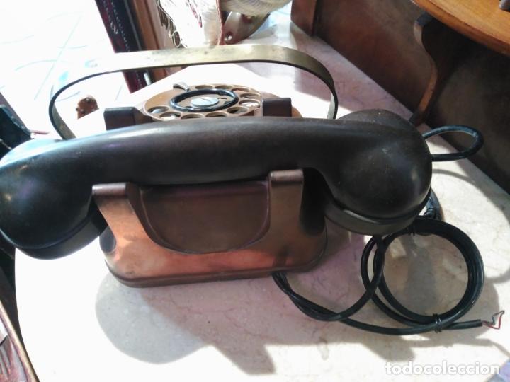 Teléfonos: PRECIOSO Y ANTIGUO TELÉFONO BELGA RTT56 EN METAL ASA EN LATÓN AURICULARES BAQUELITA FUNCIONANDO - Foto 8 - 167032792