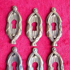 Antigüedades: 6 EMBELLECEDORES DE BRONCE PARA RESTAURAR MUEBLE ANTIGUO - OJO DE CERRADURA. Lote 181568598