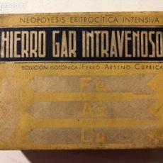 Antigüedades: ANTIGUO MEDICAMENTO CAJA DE MEDICINA HIERRO GAR INTRAVENOSO CAJA SIN ABRIR. Lote 181781111