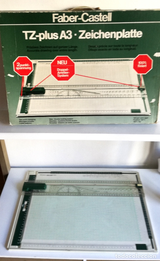 TABLA DIBUJO TÉCNICO TZ PLUS A3 FABER CASTELL MADE IN GERMANY 1083N REGALO REGLA TRIANGULAR MADERA (Antigüedades - Técnicas - Aparatos de Cálculo - Reglas de Cálculo Antiguas)