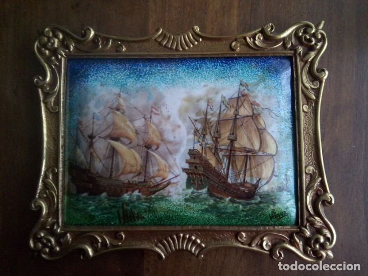 Antigüedades: Esmalte Marina Galeones - Foto 3 - 182283041