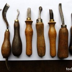 Antigüedades: 8 HERRAMIENTAS PARA TRABAJAR EL CUERO. Lote 182284126