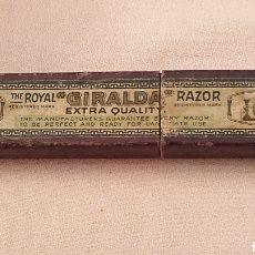Antigüedades: CAJA ANTIGUA DE NAVAJA DE AFEITAR GIRALDA VACIA. Lote 182400541