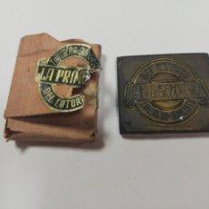 Antigüedades: CUBA. PRE REVOLUCION. SELLO DE BRONCE. TINTORERIA Y QUINCALLA DEL COTORRO. MED : 5.5X 4.5 CM APROX.. Lote 182563977