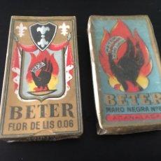 Antigüedades: HOJAS DE AFEITAR BETER FLOR DE LIS Y MANO NEGRA. Lote 182564176