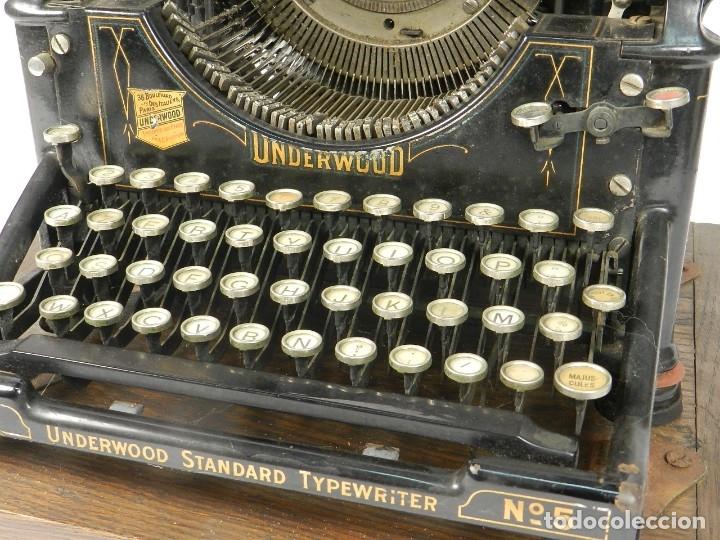 Antigüedades: MAQUINA DE ESCRIBIR UNDERWOOD Nº5 AÑO 1915 TYPEWRITER SCHREIBMASCHINE - Foto 5 - 182603403